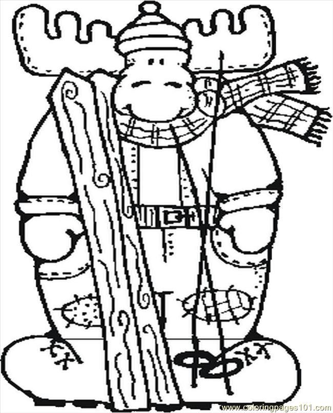 Coloring Pages Moose Skiing (Entertainment > Others) - free