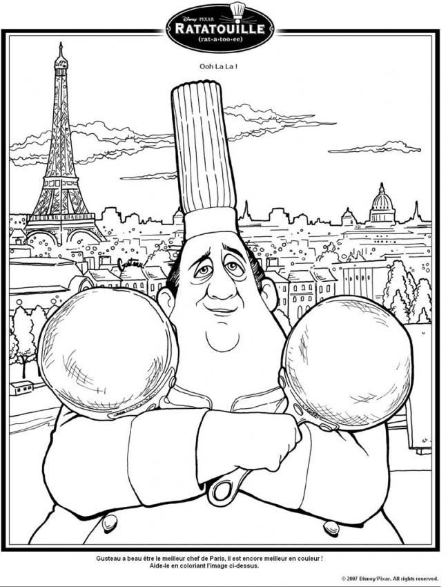 Ratatouille coloring page | Cartoon coloring pages, Disney ... | 850x649
