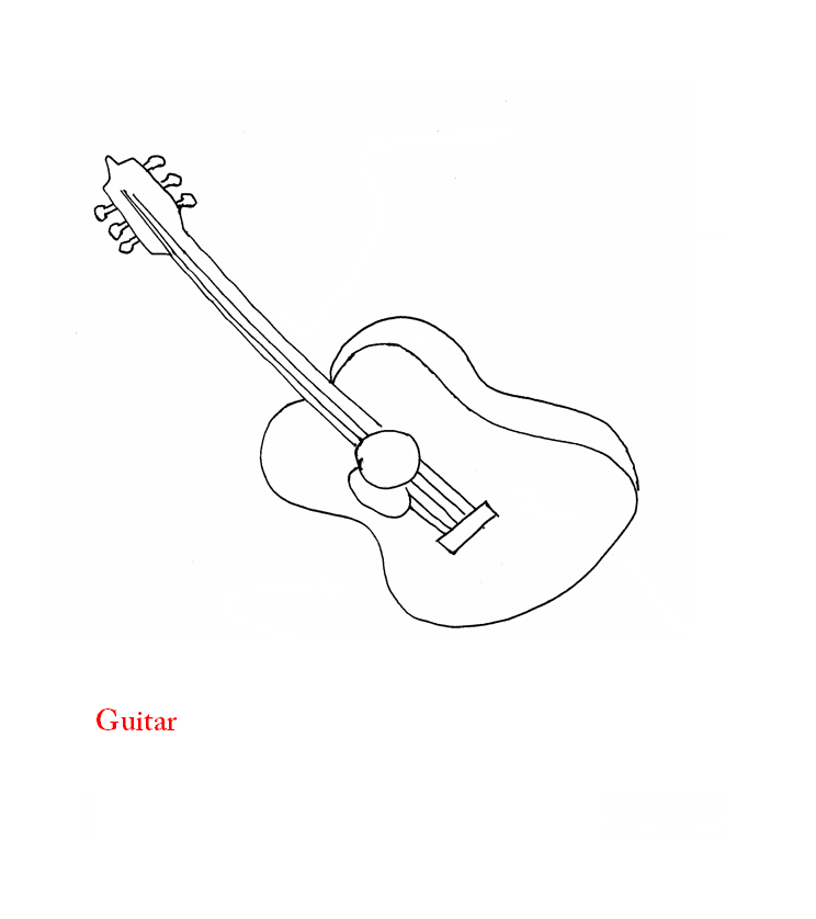 Guitar coloring page printable for kids: Guitar coloring page