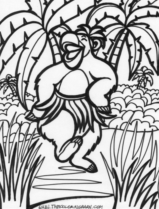 Easy Amazing Jungle Scene Coloring Page Coloring Page | Laptopezine.