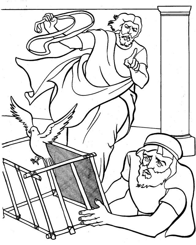 Jesus clears the temple coloring page coloring home for Jesus as a boy in the temple coloring page