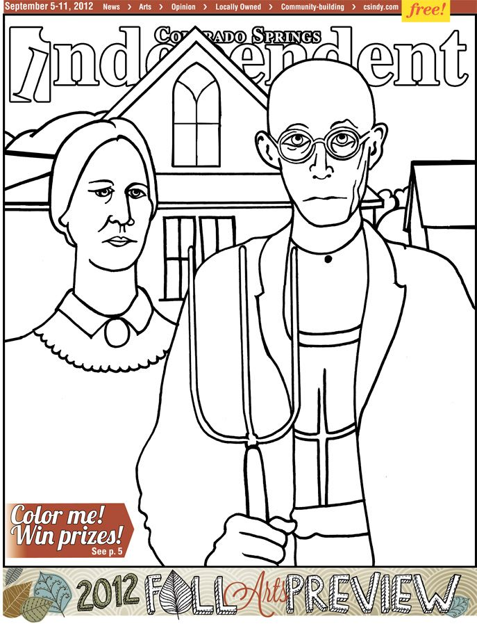 American gothic coloring page coloring home for American gothic coloring page