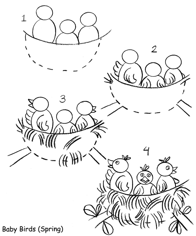 baby birds in a nest coloring pages - photo #49