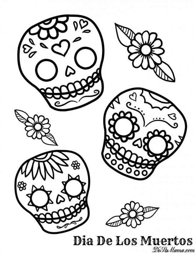 Day Of The Dead Skull Coloring Pages Coloring Book Area Best