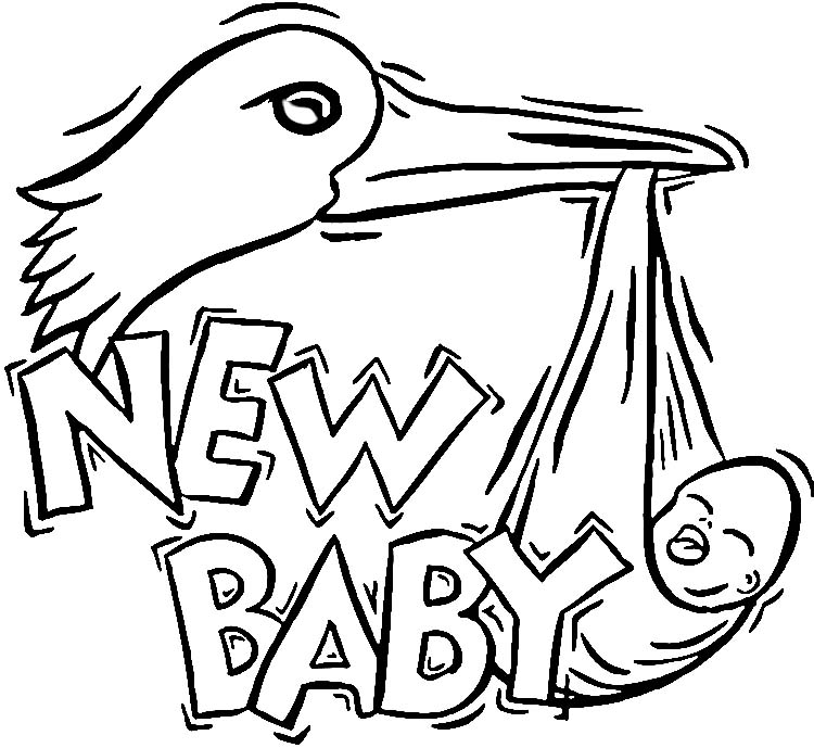 stork with baby coloring pages - photo#27