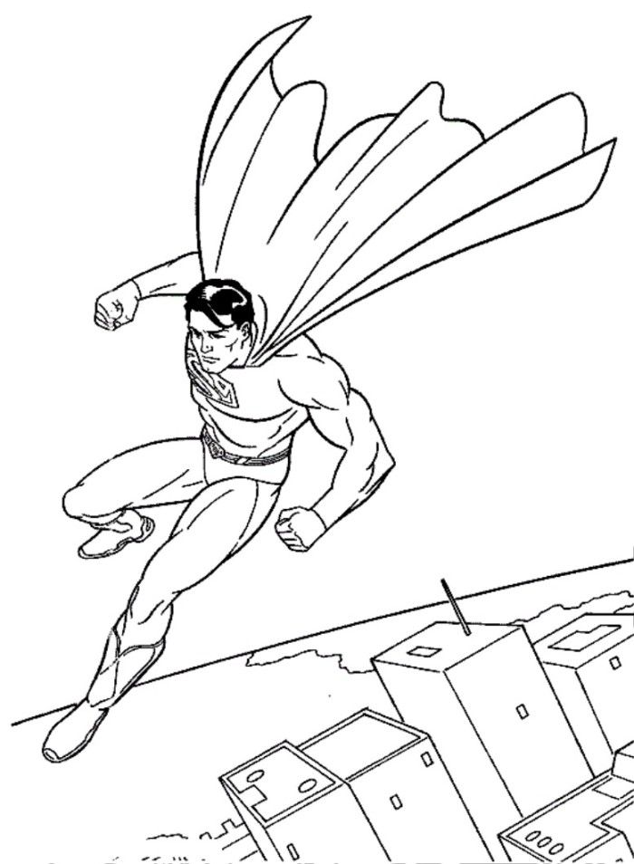 Superman Flying With A Car Coloring Page - Superheroes Coloring ...