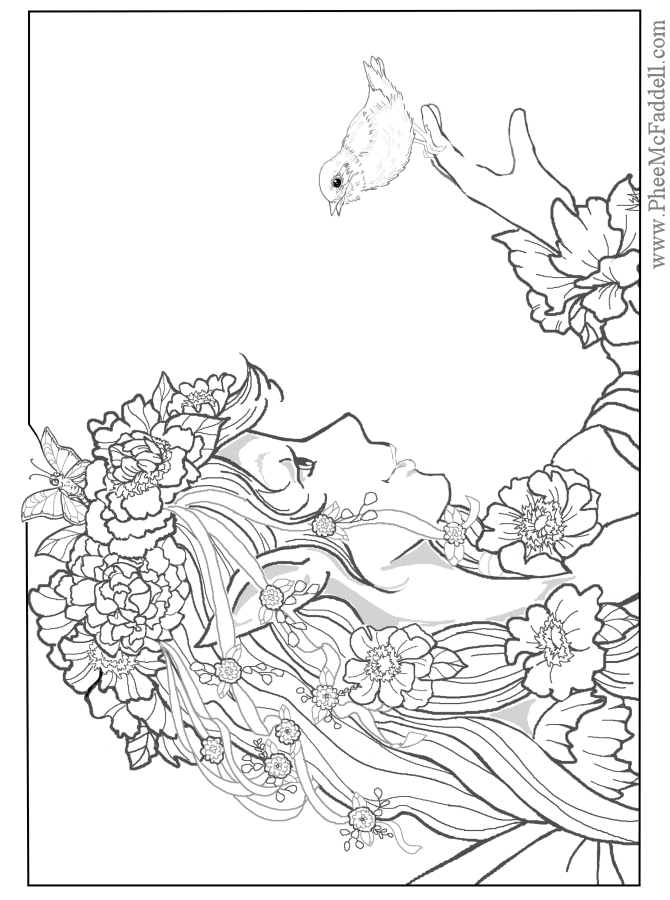 Advanced Coloring Pages Of Fairies : Advanced coloring pages adults home