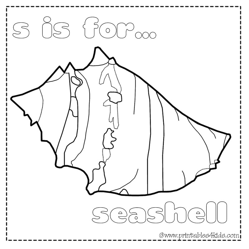 S is for Seashell coloring page : Printables for Kids – free word
