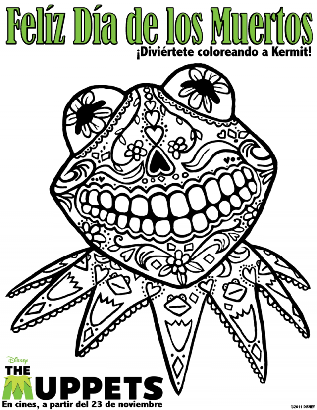 It 39 S Dia De Los Muertos Celebrate With This Kermit Coloring