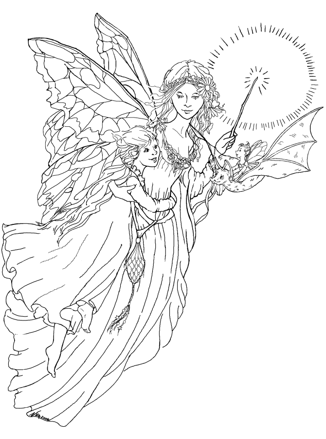fairy and dragon coloring pages - photo#9