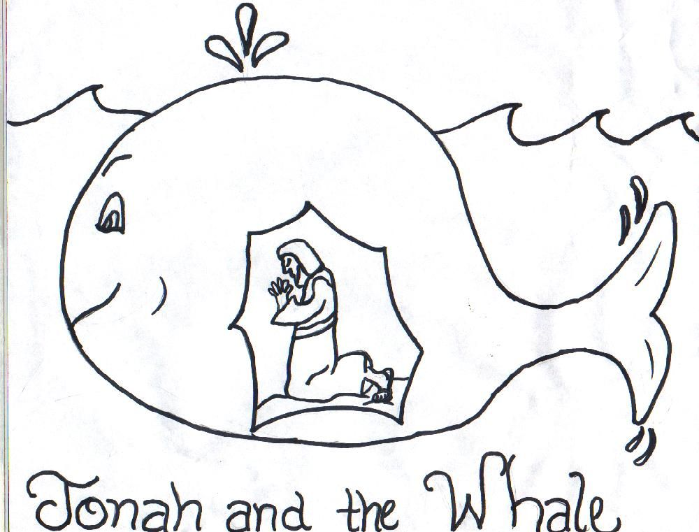 jonah and fish coloring pages - photo#1