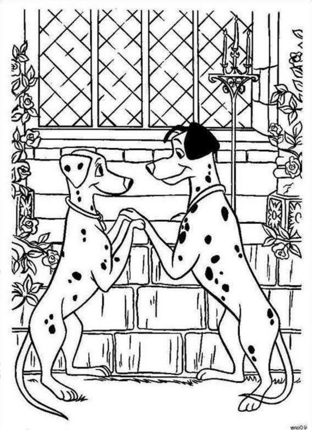 Download Pongo And Perdi Get Married 101 Dalmatians Coloring Pages