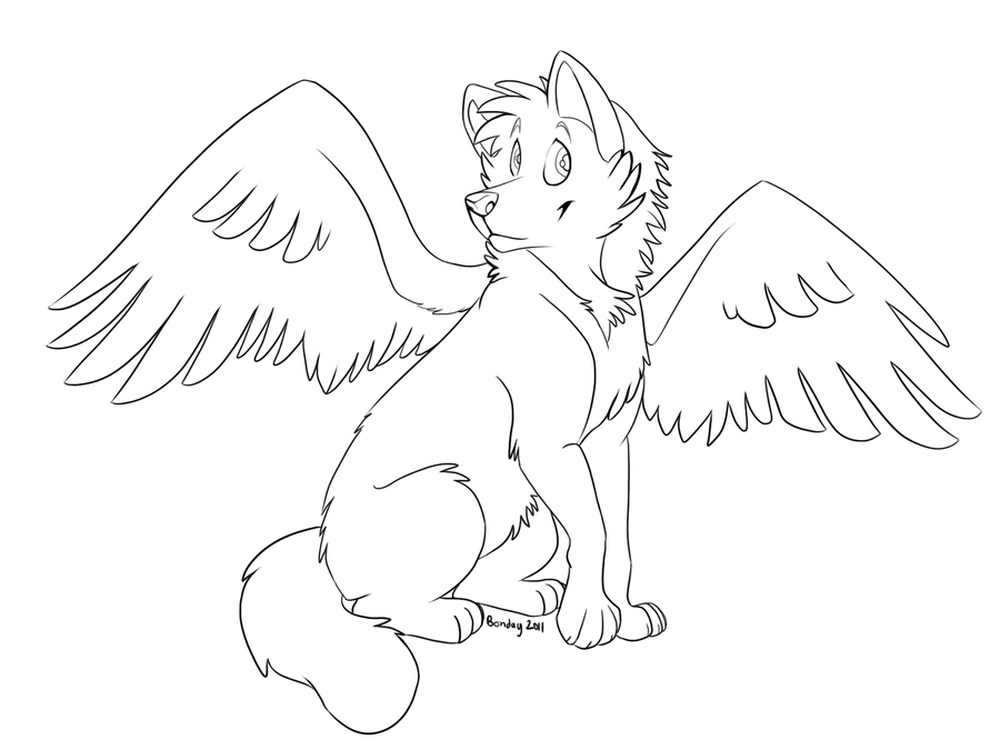 baby winged wolf coloring pages - photo#31