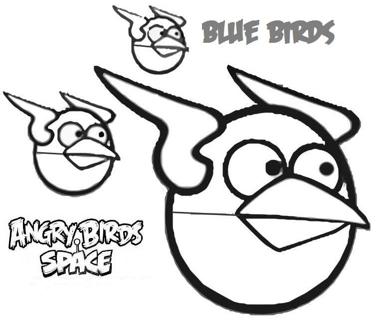 blue birds coloring page angry bird space