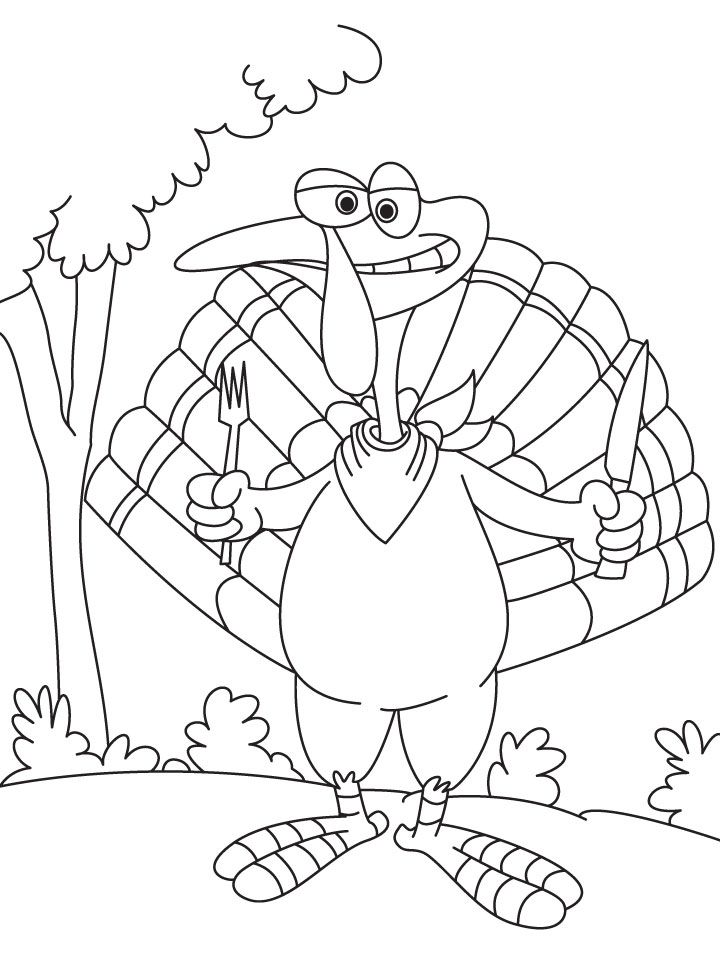 Turkey with knife and fork coloring page | Download Free Turkey