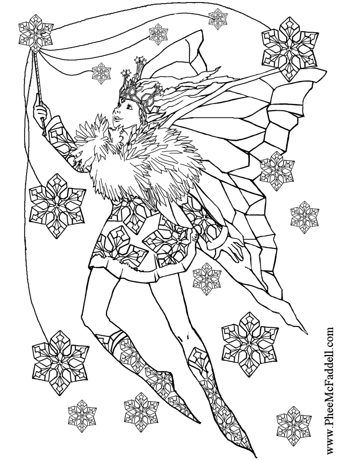 Snowflake Fairy to color Black and White coloring and craft pages