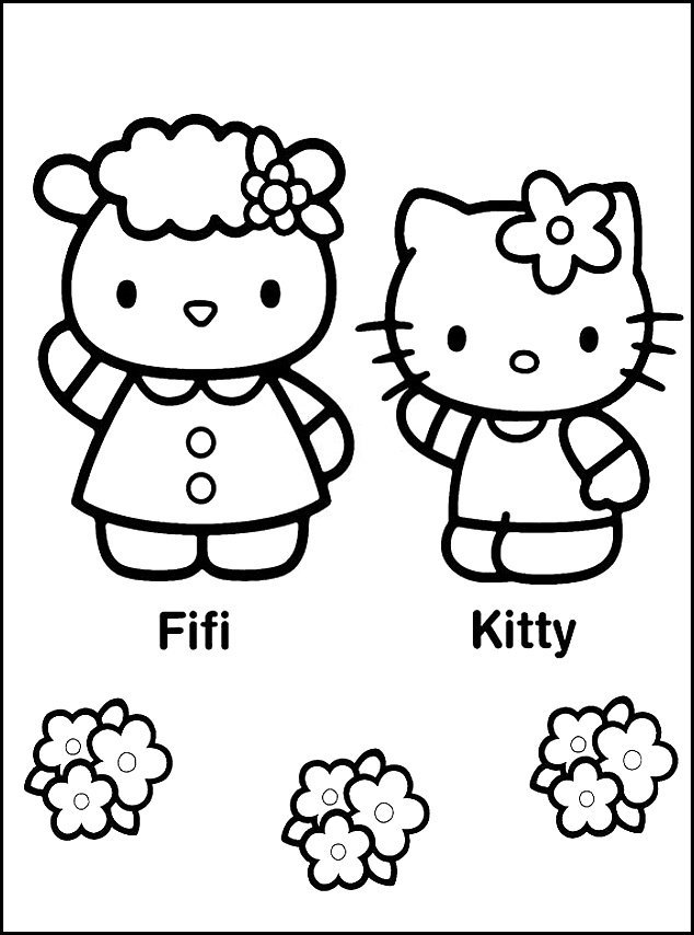 Colouring pictures hello kitty friends : Hello kitty and friends coloring pages az