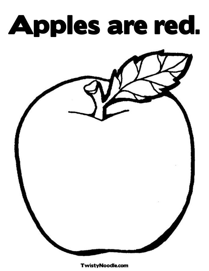 Apple Template For Kids Coloring