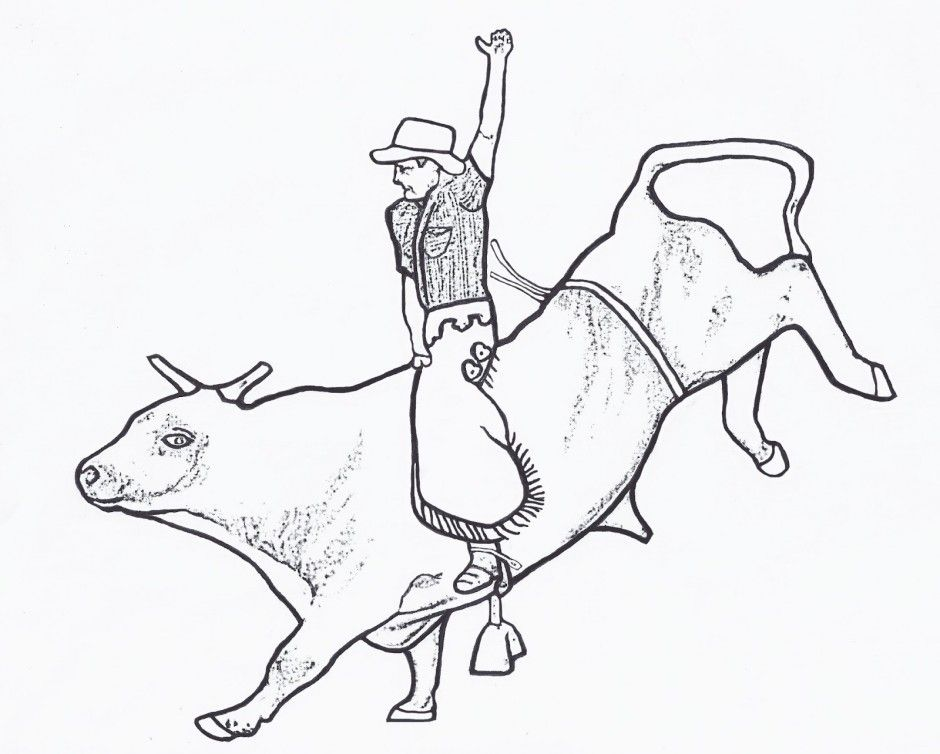 Rodeo coloring page coloring home for Bucking bull coloring pages