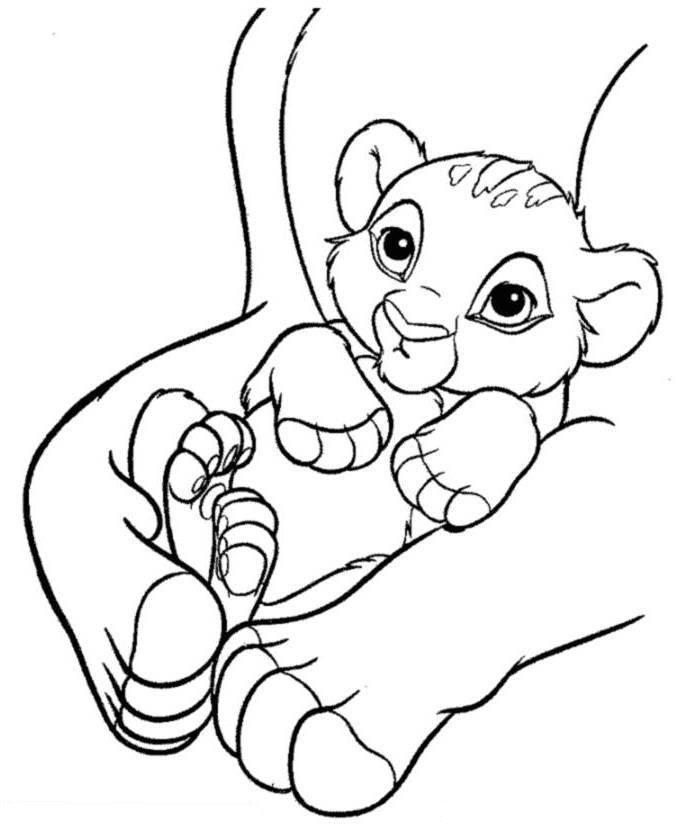 Lion Coloring Pages Pdf : Print baby simba the lion king coloring page or download