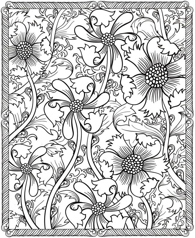 flower detailed coloring pages - photo#21