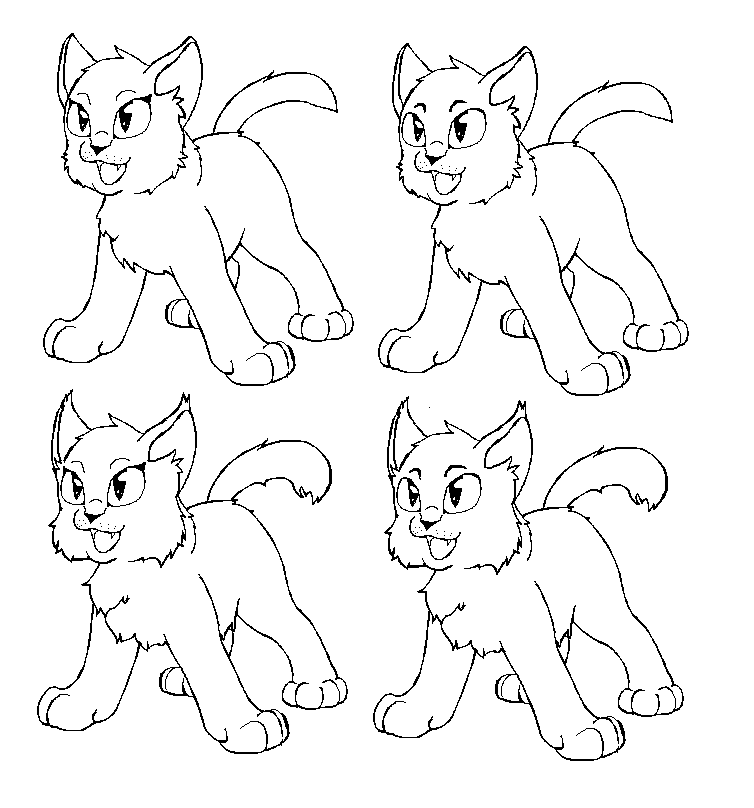 Warrior Cat love Free lineart by Tesseri-Shira