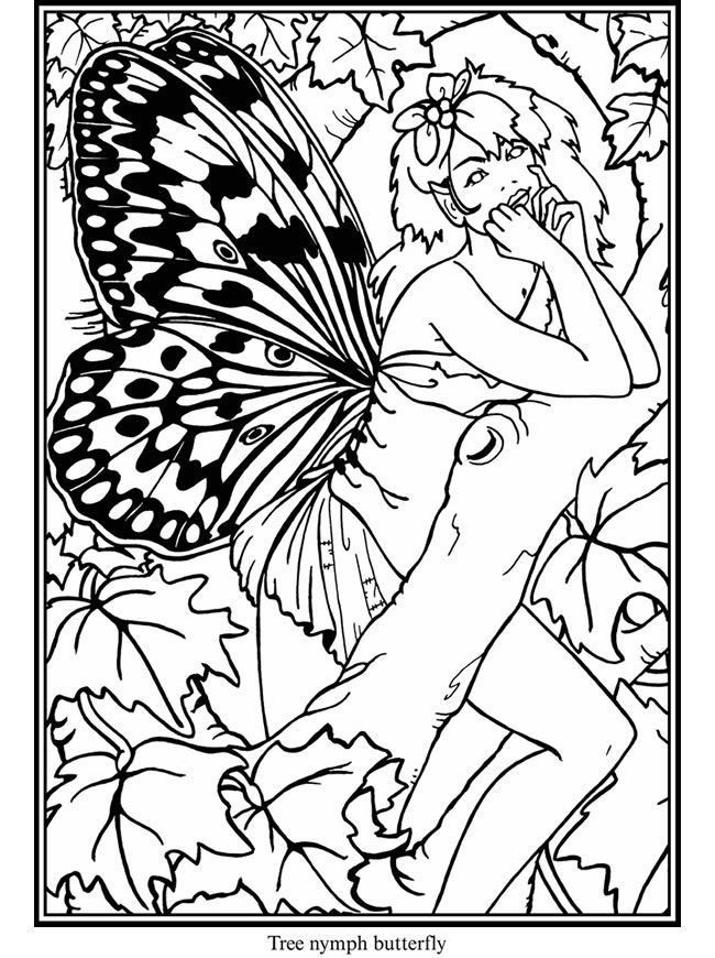 butterfly and fairies 3 | difficult coloring pages