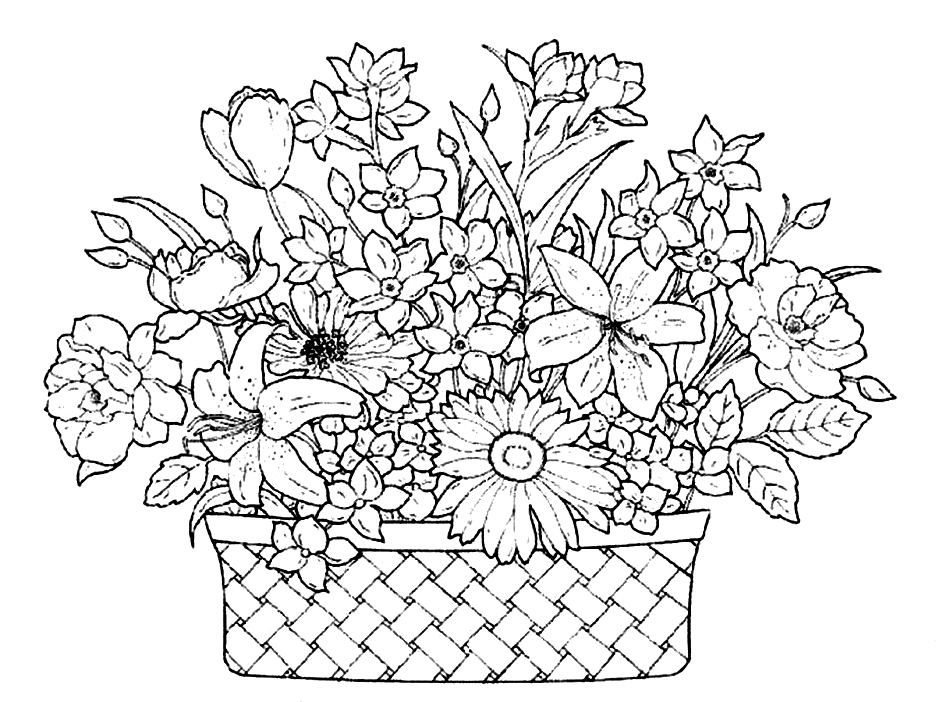 Flower Basket Line Drawing : Download a basket full of beautiful flowers coloring pages