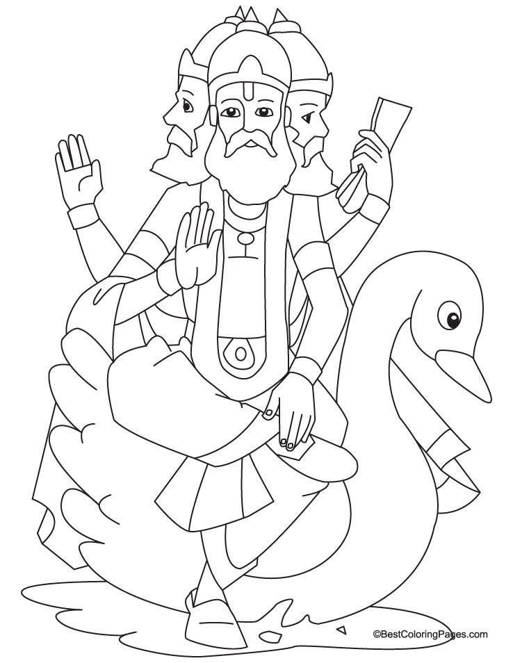 Lord Brahma Coloring Page | Download Free Lord Brahma ...