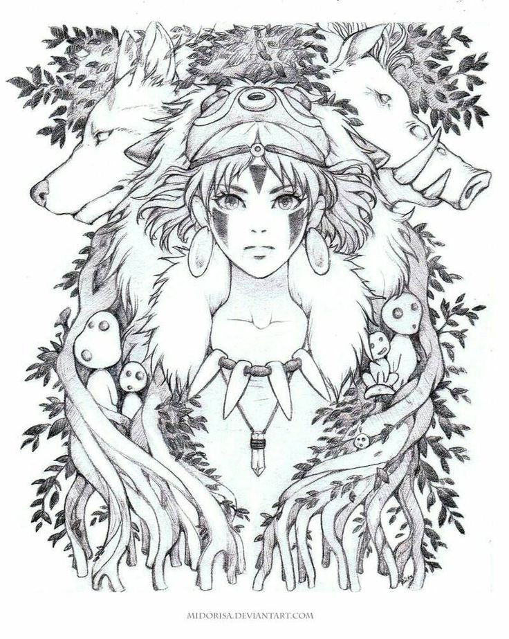 Princess Mononoke Coloring Pages Coloring Home