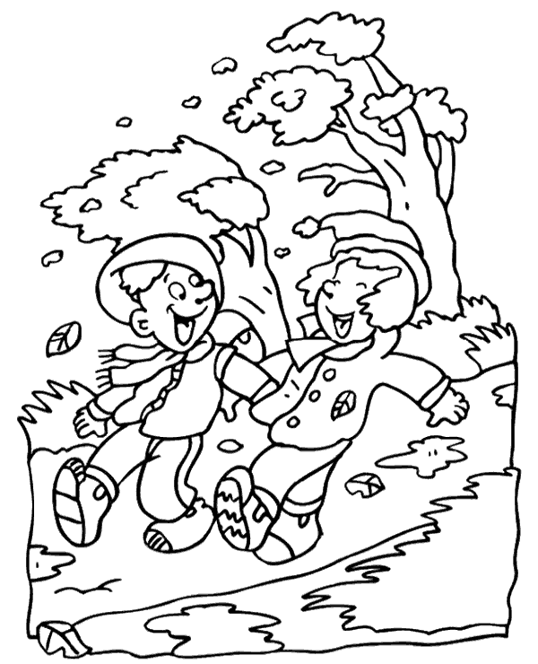 Windy fall day coloring sheet