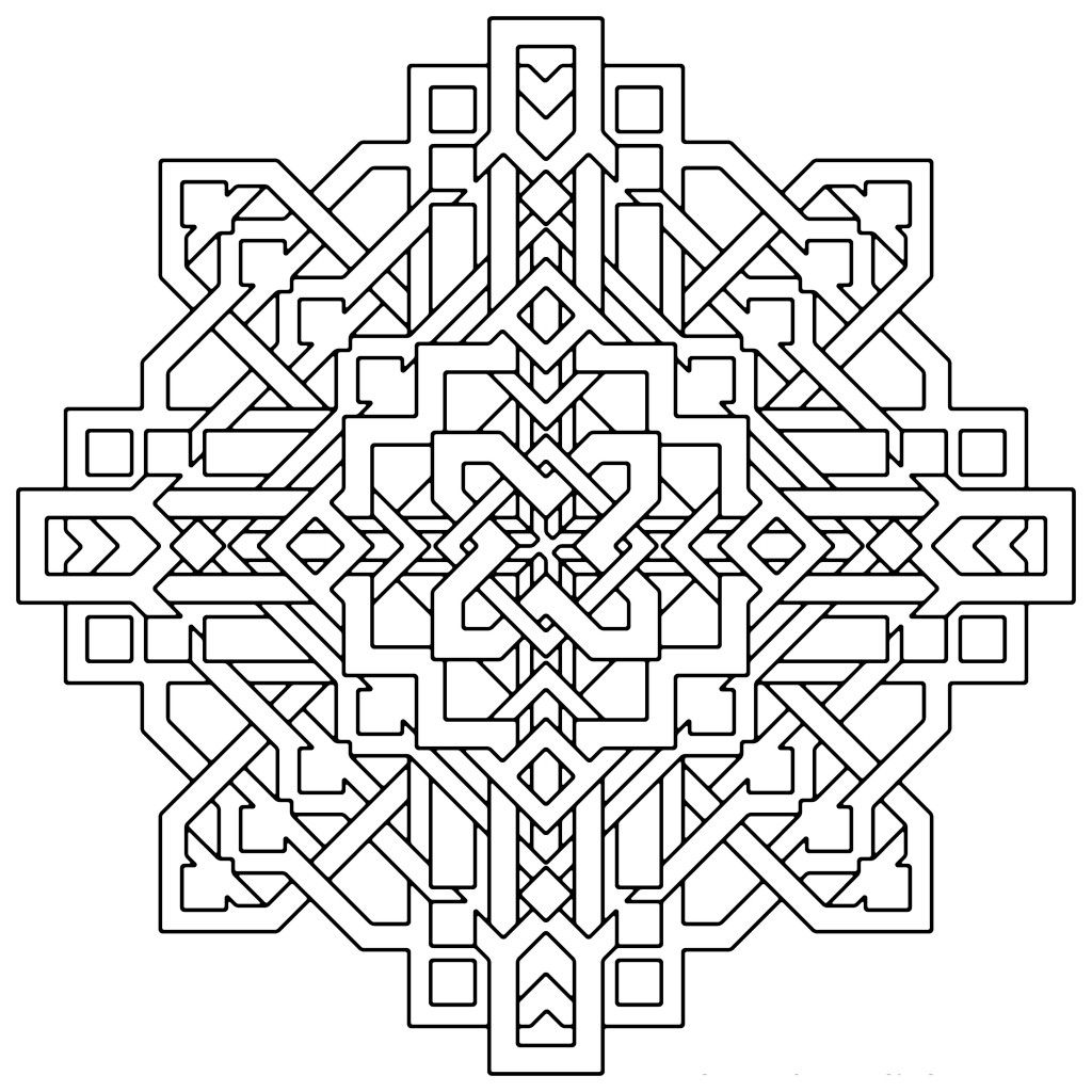 Geometric mandala coloring pages coloring home for Geometric coloring pages to print
