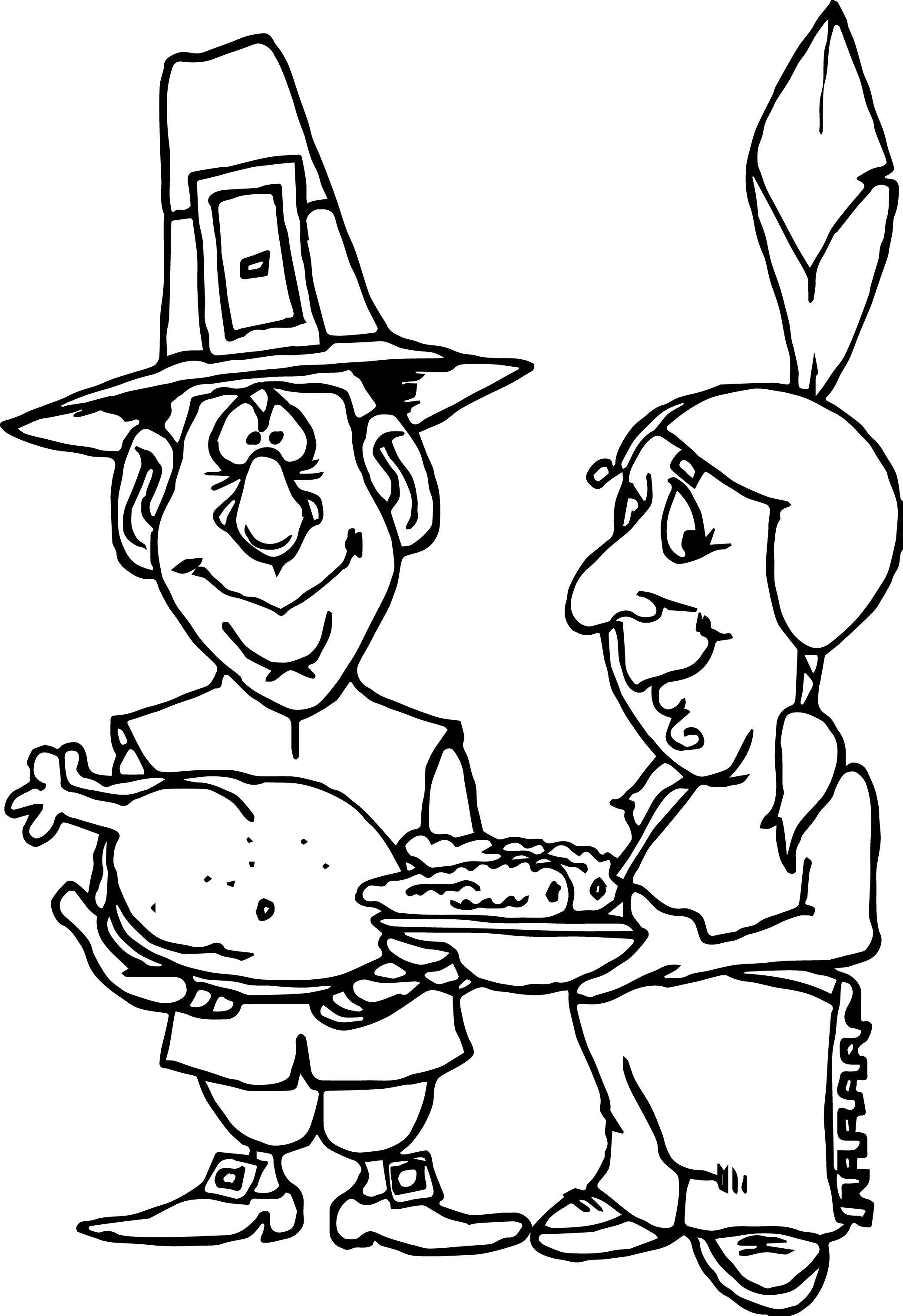 first thanksgiving pilgrim indian turkey corn coloring page