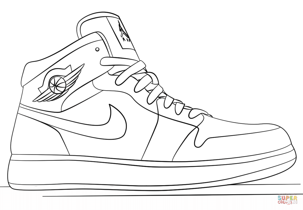 Nike Jordan Sneakers coloring page | Free Printable Coloring Pages