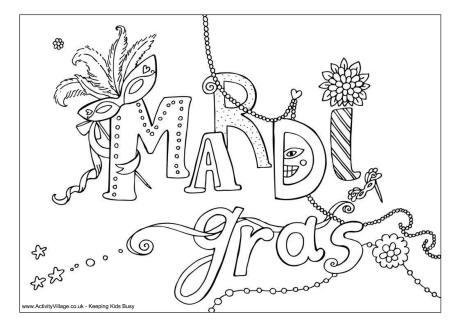 Mardi Gras Mask Coloring Page