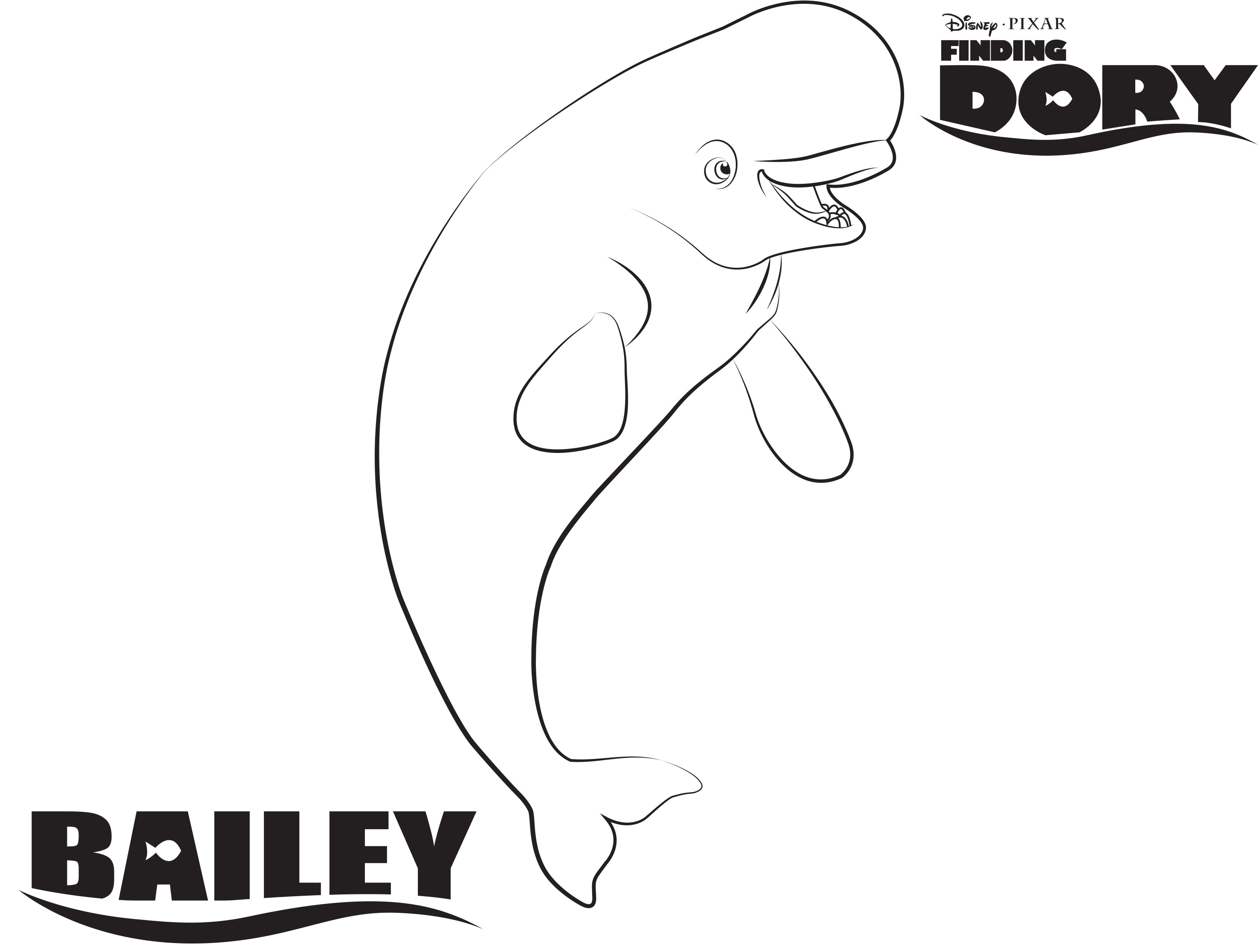 Coloring pages for dory - Bailey Finding Dory Coloring Page