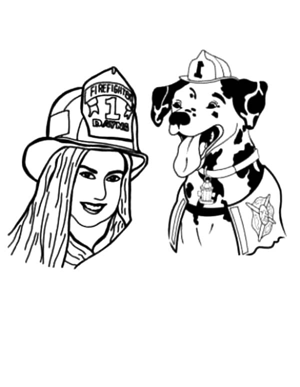 Sparkles the Fire Safety Dog and Firefighter Dayna Coloring Page