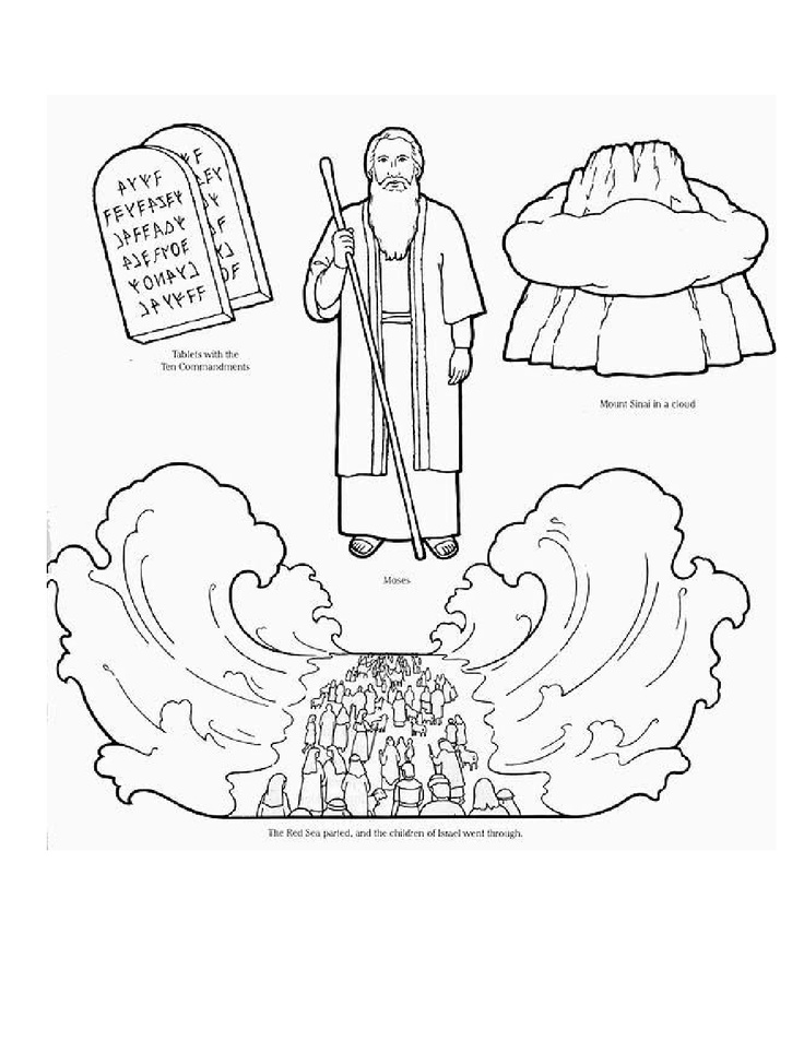 Moses Parting The Red Sea Coloring Page Coloring Home - Crossing-the-red-sea-coloring-page