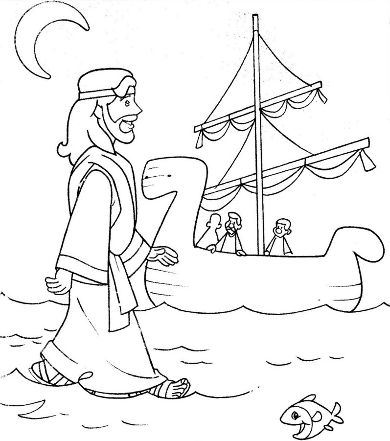 walking on water coloring pages - photo#4