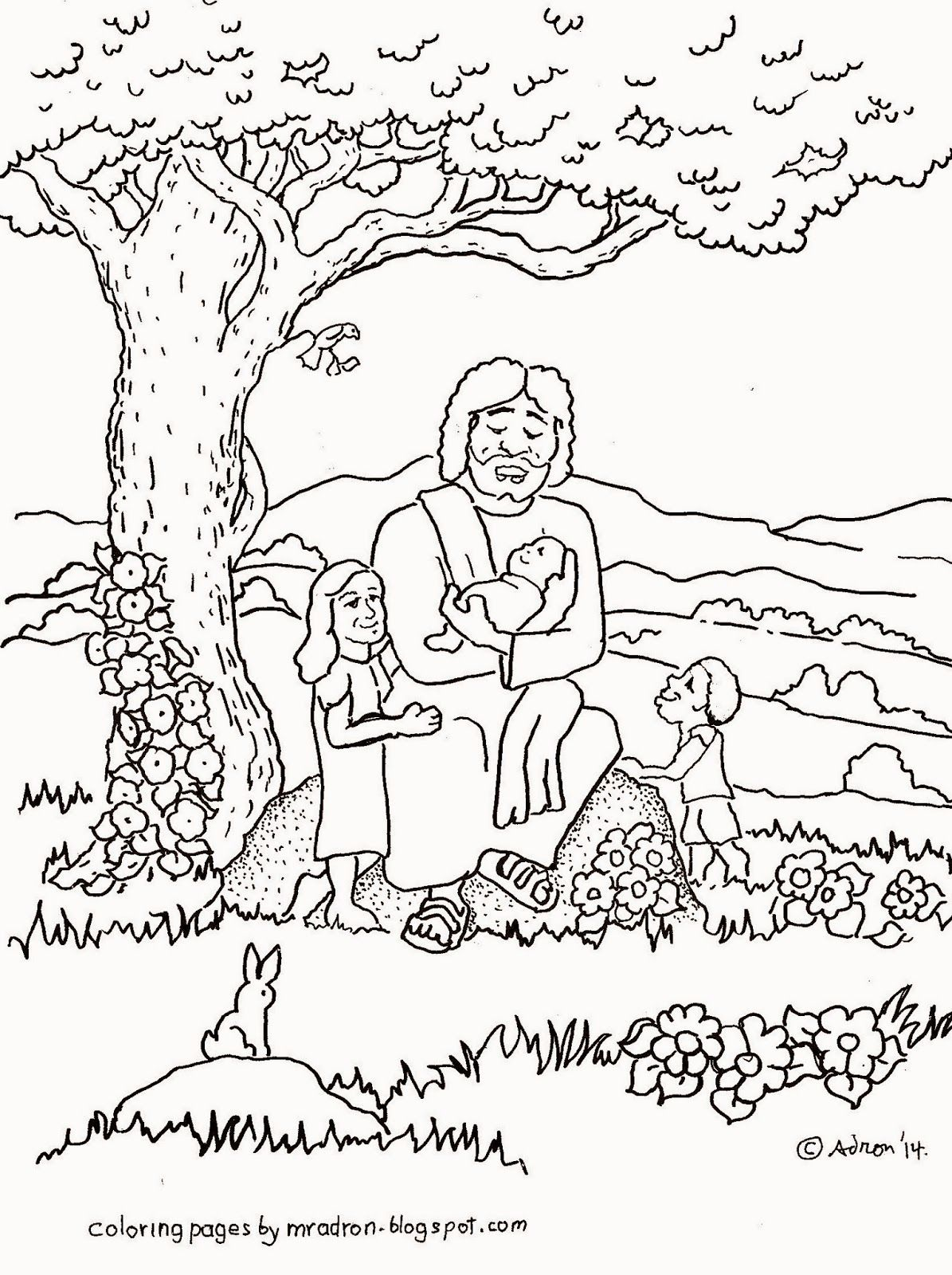 Coloring Pages Jesus And The Children Coloring Pages coloring page jesus loves the children az pages for kids by mr adron blesses children