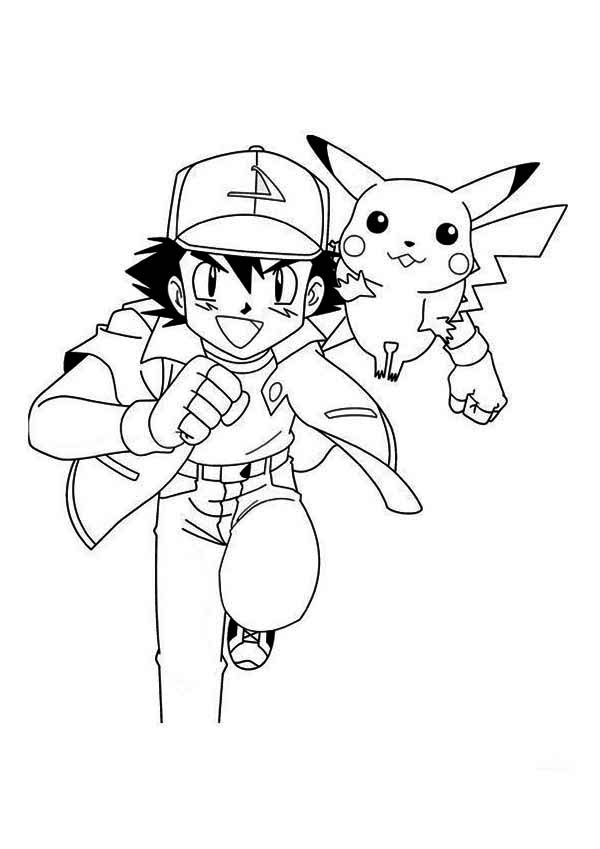 Ash Ketchum Coloring Page Coloring Home Ash And Pikachu Coloring Pages