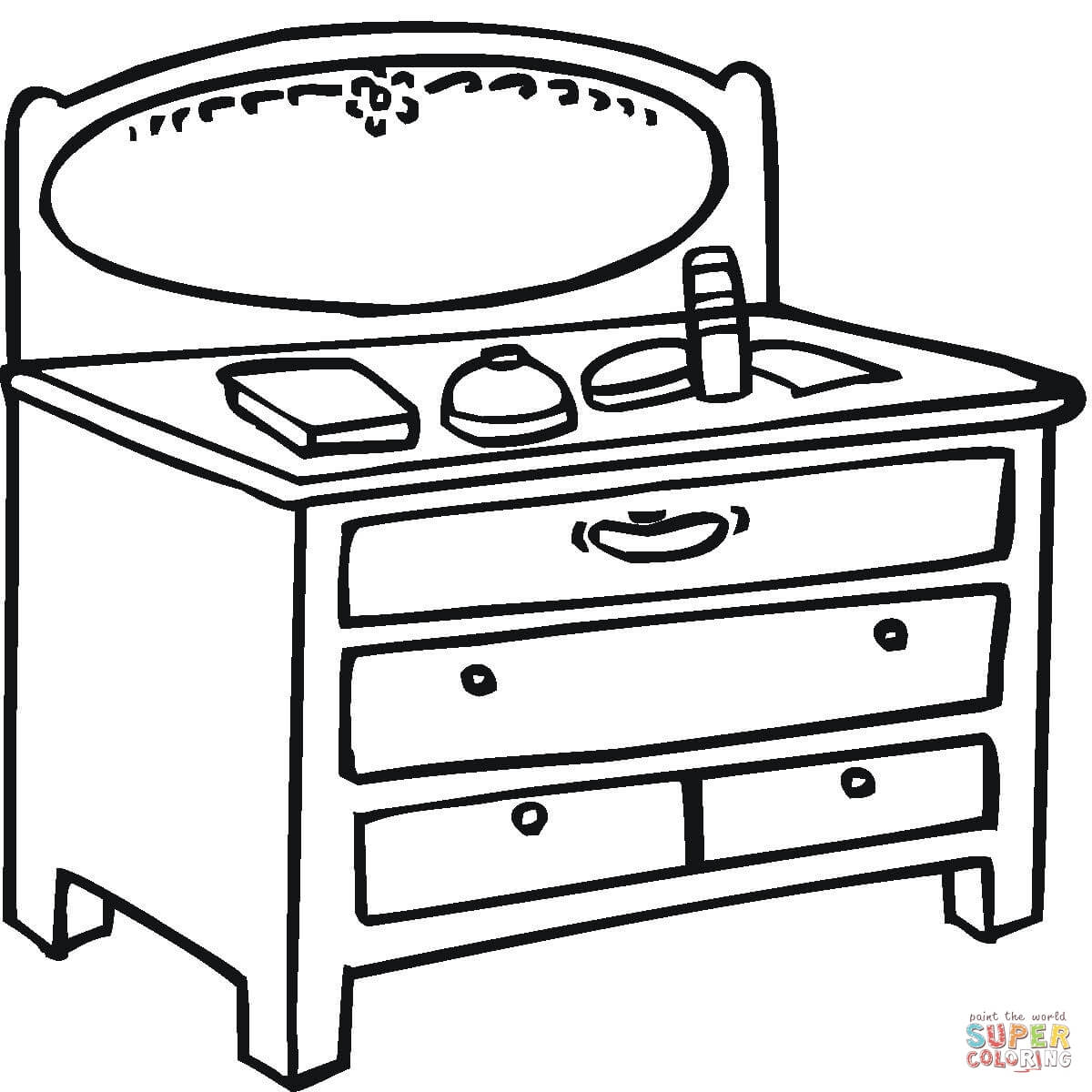 Little Table With Mirror coloring page | Free Printable Coloring Pages