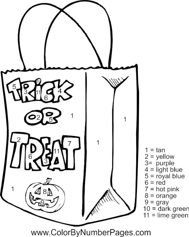 halloween coloring pages color by number | Halloween Color By Numbers - Coloring Home
