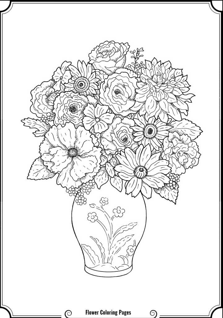 complicated coloring pages flowers - photo#5