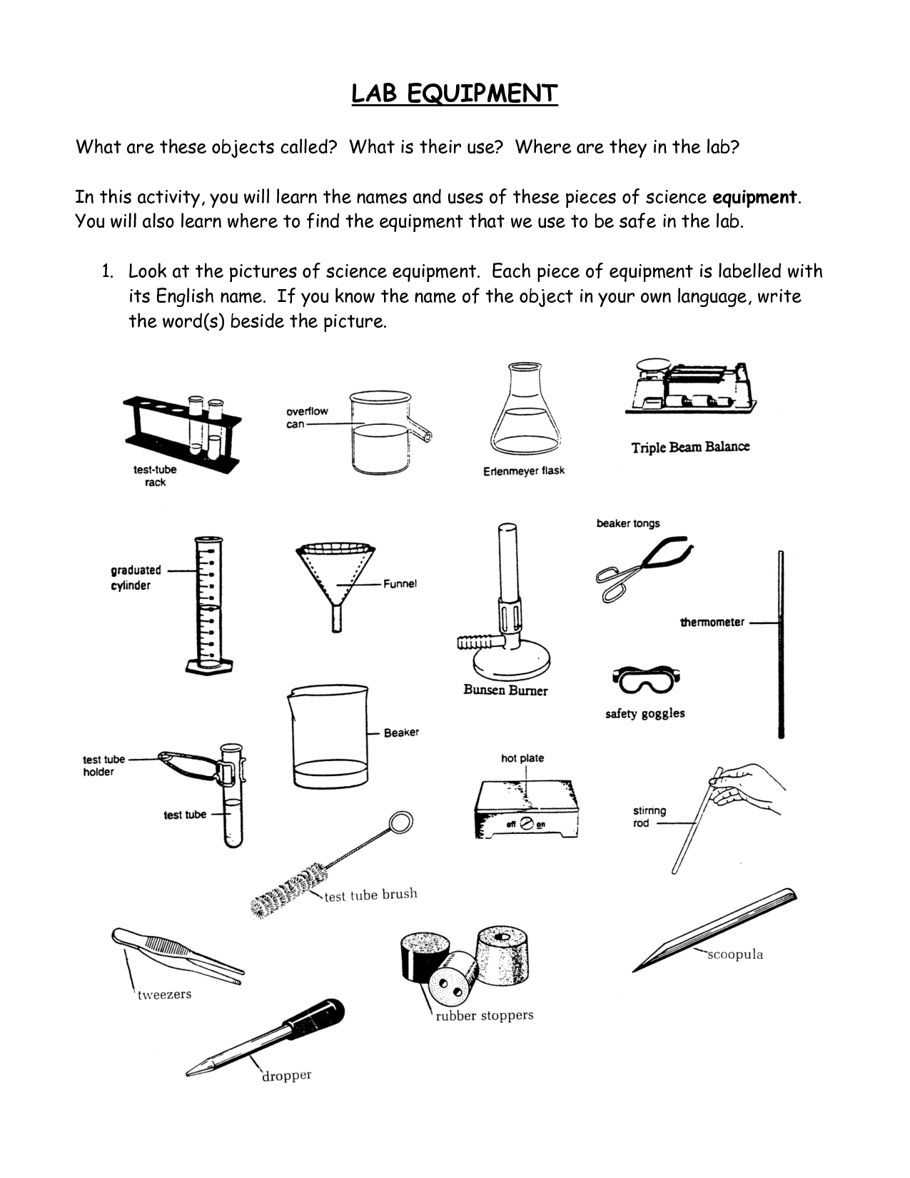 science equipment name Khafre – Science Lab Equipment Worksheet