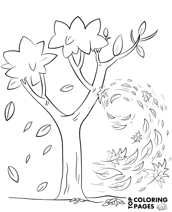 Autumn wind on a free coloring books to print and color