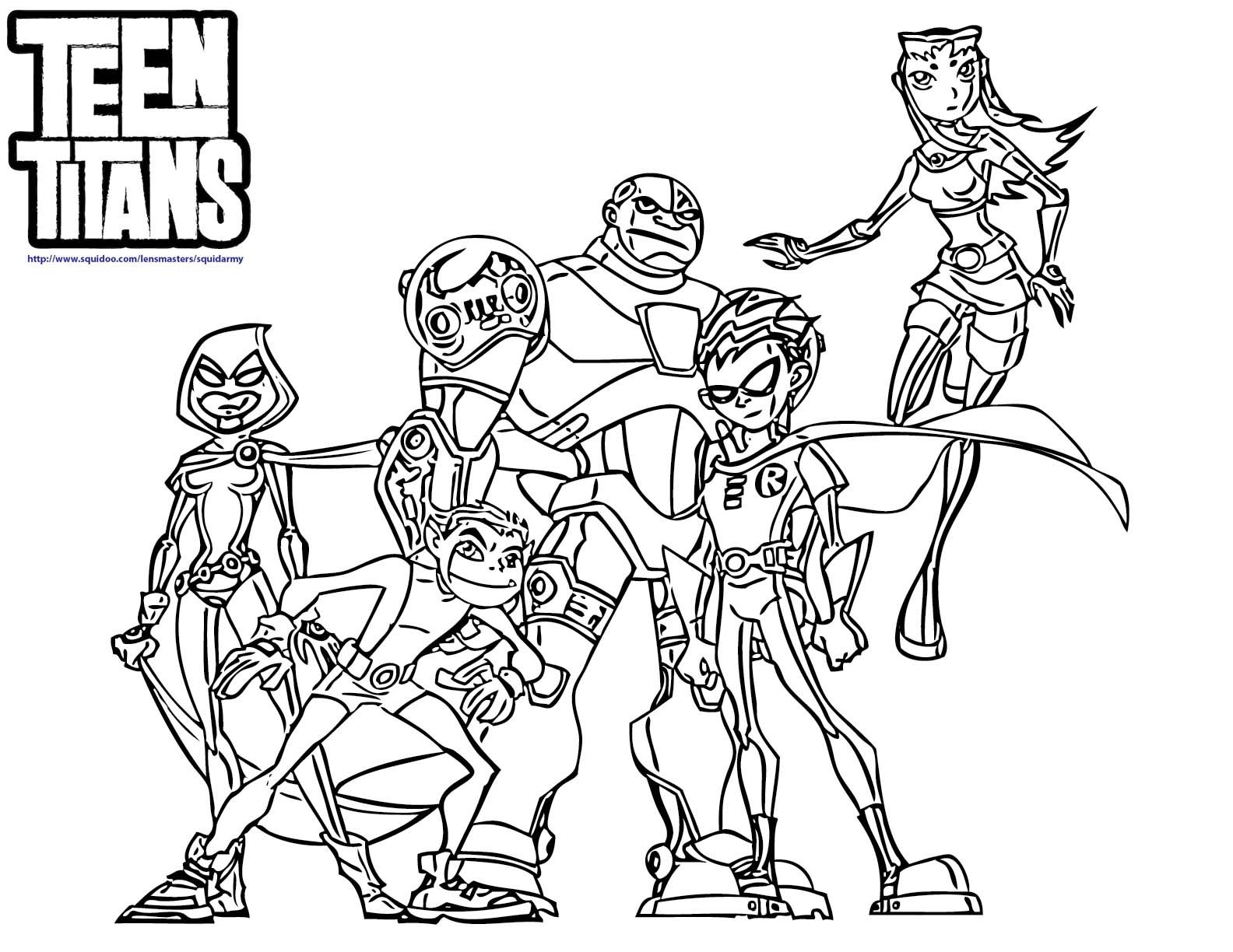 Teen Titans Coloring Page  Coloring Pages For Kids And For Adults