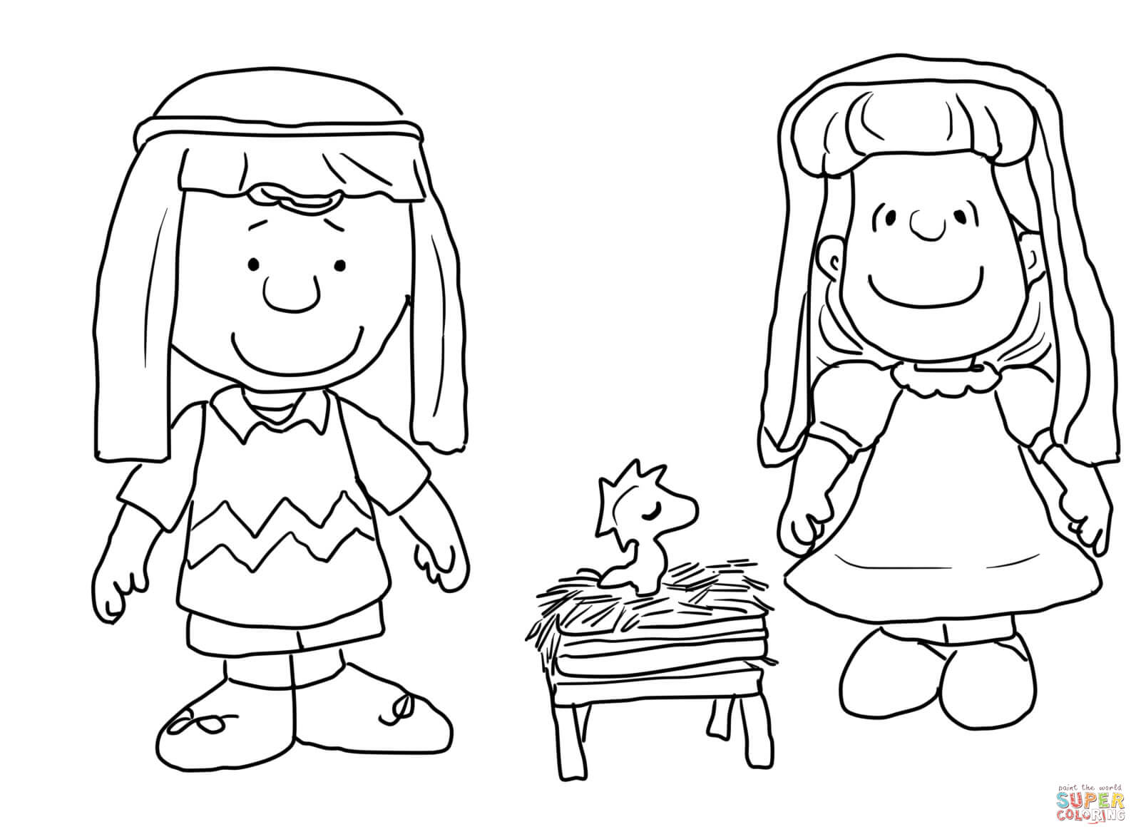 charlie brown characters coloring pages - coloring home - Nativity Character Coloring Pages