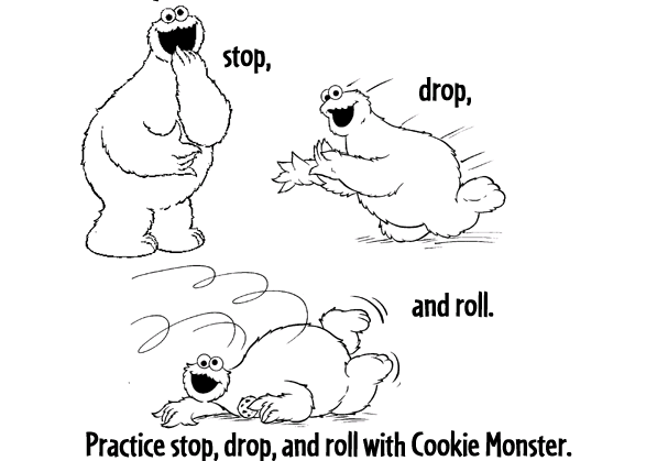 elmo stop drop and roll coloring page