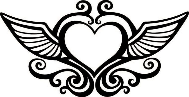 Hearts With Wings Coloring Pages - Coloring Home